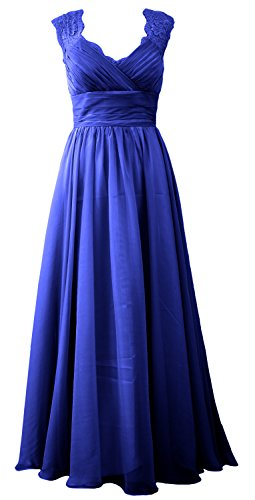 Neck Long Women Lace Formal Royal Bridesmaid Dress Vintage Blue V MACloth Evening Gown YRxwpdp