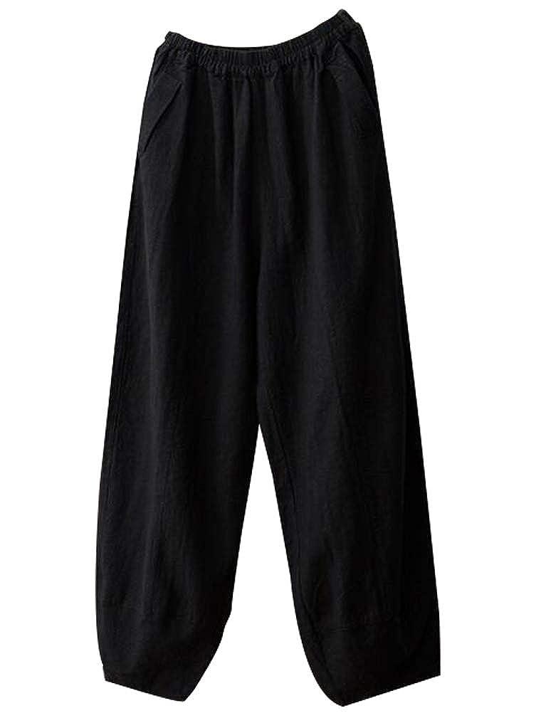 Minibee Womens Elastic Waist Pants Wide Leg Linen Cropped Capri Pants