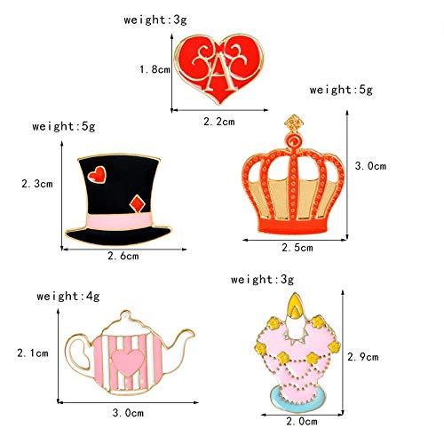 Autumn Water 14 pcs/Set Fairy Tale Castle Crown Rabbit Cat Alarm Clock Cake Hat Teapot Candlestick Brooch Button Pins Jacket Badge Jewelry