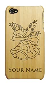 Engraved Bamboo iPhone 4/4S Case/Cover - CHRISTMAS BELLS - Personalized for FREE (Click the CONTACT SELLER link after purchase to tell us your engraving request)