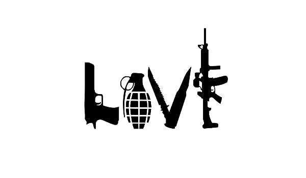 Amor armas tatuajes de pared de vinilo adhesivo pistola granada ...