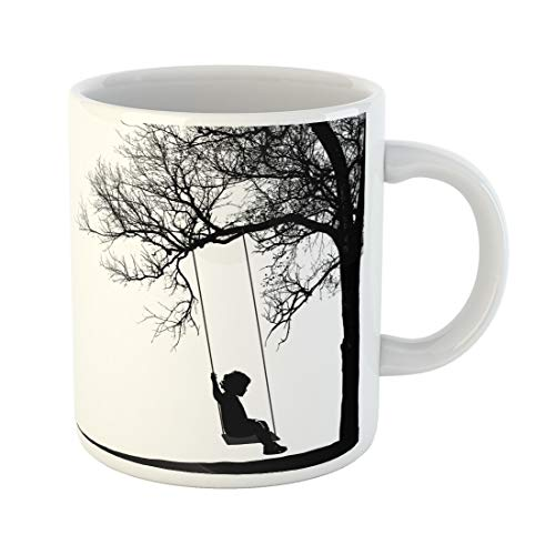 (Emvency Funny Coffee Mug Black Child Little Girl on Swing Under Tree Realistic Silhouette of Swinging Sitting 11 Oz Ceramic Coffee Mug Tea Cup Best Gift Or Souvenir)