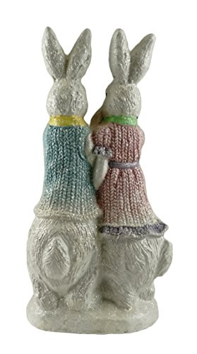Party Explosions Easter Bunny Family Decorative Figurine with Glitter Finish