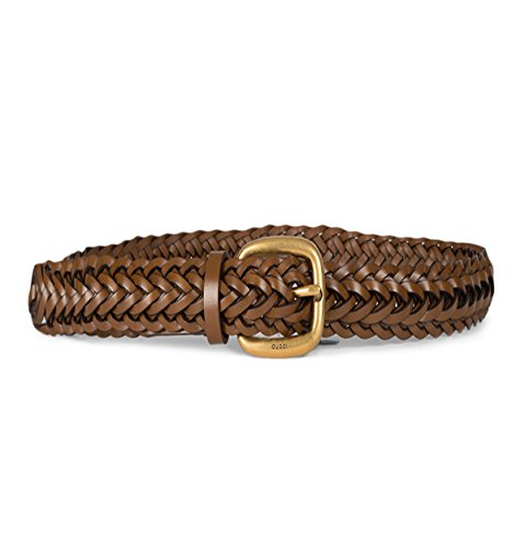 Gucci Women's Braided Leather Belt with Gold Buckle 380606 2535 Brown (32)  by Gucci