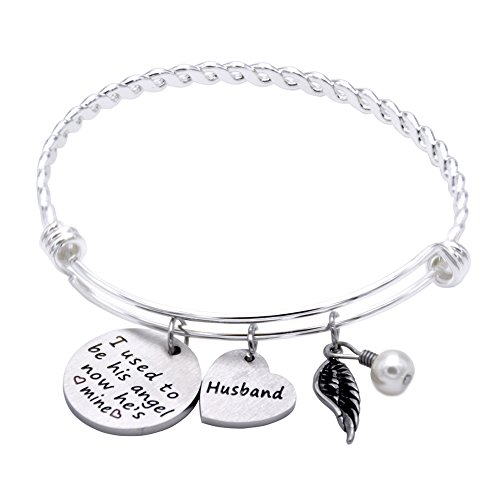 Memorial Bracelet I Used To Be His Angel Now He's Mine Bracelet Husband , Memorial Gifts for Loss of Husband