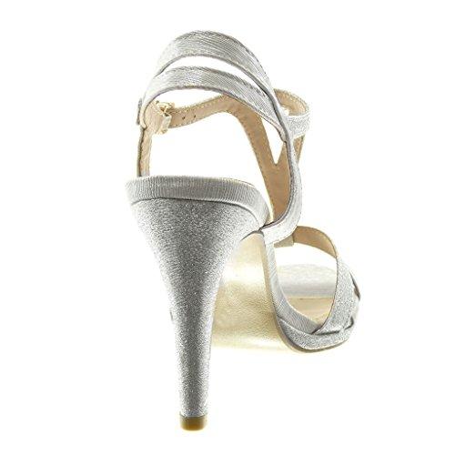 Cinghie 10 Decollete Lucide Stiletto Tacco Sandali Angkorly Alto Tacco Incrociate Scarpe Moda Paillette Donna argento Cinturino con Stiletto cm qtawPgy1xw