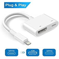 Lightning to HDMI, Lightning Digital AV Adapter, HDMI and Lightning Charging Port 2 in 1 Adapter, Compatible iPhone, iPad, iPod Touch, for HD TV Monitor Projector(1080P) (White) (WHITE)