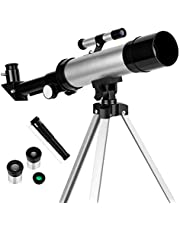 Telescope for Kids Telescopes for Astronomy Beginners Capable of 90x Magnification Includes Two Eyepieces Tabletop Tripod Finder Scope Ideal Birthday Space Gift