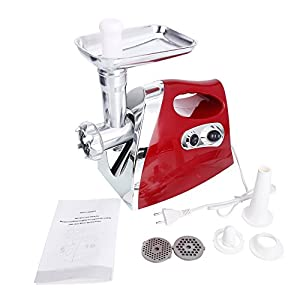 Z ZTDM Multifunctional Electric Meat Grinder, Sausage Maker Meat Mincer with 3 Stainless Steel Grinding Plates, Food Pusher, Plates 1300W Power W/Sausage Horn