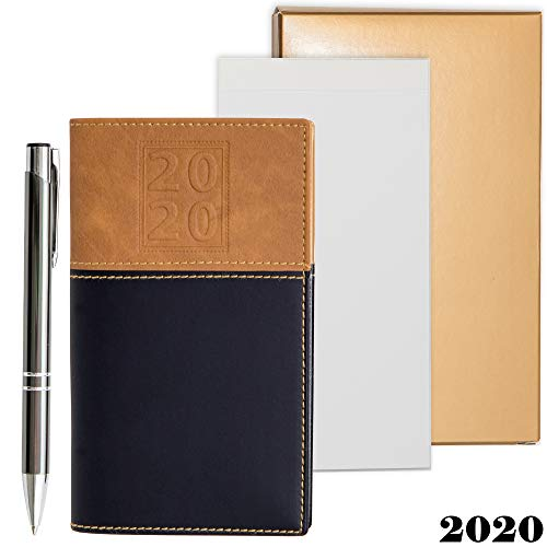 - 2020 Weekly Pocket Calendar Organizer | Business Polished Chrome Trim Pen & a Notepad Included | 12 Months Week-in-View Planner, Weekly Quotes | All in a Gold Gift Box Set.