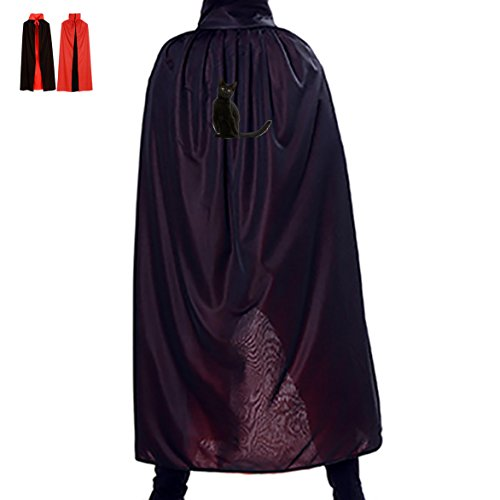 Homemade Costumes Frog (Halloween Black Vivid Cat Children Adult Costume Wizard Witch Cloak Robe Cape)