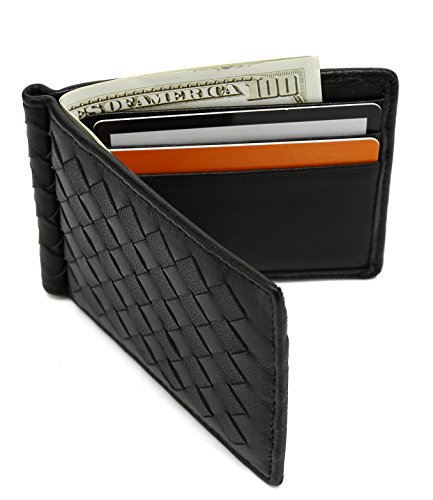 Mens Wallet Slim Genuine Leather Bifold Front Pocket Wallet Lambskin Money Clip Woven Card Holder