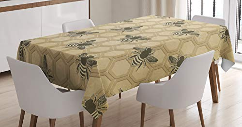 (Ambesonne Bee Tablecloth, Eco-Friendly Beekeeping Theme Honeycomb Cells and Bee Silhouettes Illustration, Dining Room Kitchen Rectangular Table Cover, 60 W X 84 L Inches, Green Beige)