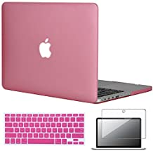 """Easygoby 3in1 Frosted Matte Silky-Smooth Soft-Touch Hard Shell Case Cover for Apple 13.3""""/ 13-inch MacBook Pro with Retina Display Model A1425 /A1502 (NO CD-ROM Drive) + Keyboard Cover + Screen Protector - Pink"""