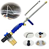 Hydro Jet High Pressure Glass Cleaner - 27'' Extendable Power Washer Wand, Water Hose Attachment Nozzle, Flexible Auto Washer, Snow Foam Cannon, Watering Sprayer, Car Wash, Window Washing, 2 Tips