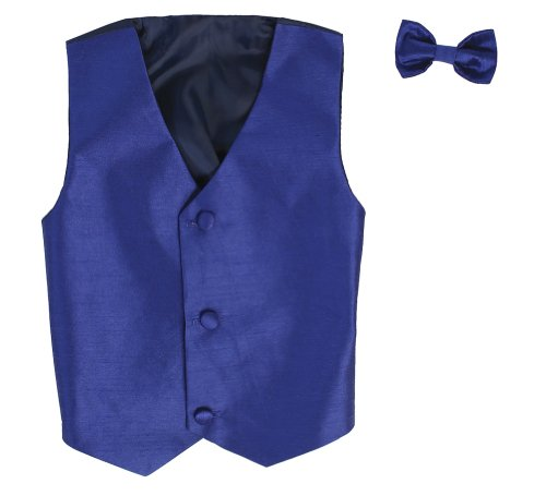 Jacket Black Blazer Silk (Vest and Clip On Boy Bowtie set - ROYAL - 8/10)
