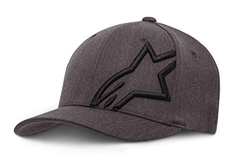 Racing Flex Fit Cap - Alpinestars Men's Curved Bill Structured Crown Flex Back 3D Embroidered Logo Flexfit Hat, Corp Shift 2 Dark Heather Gray/Black, L/XL