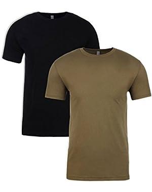 N6210 T-Shirt, Black + Military Green (2 Pack), Medium