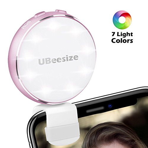 c1eed774443 Selfie Ring Light, 7 Light Colors UBeesize Rechargeable Clip On Led Halo  Light, Compatible