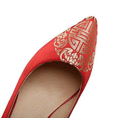 Talones de las mujeres Primavera Verano Otoño zapatos de la comodidad de seda bordado banquete de boda y vestido de noche del tacón de aguja flor roja caminando Red