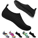 Double Couple Water Shoes Men Women Barefoot Quick-Dry Aqua Shoes Swim Surfing Beach Shoes (US Women 8.5-9.5/US Men 7-8, Black) Larger Image