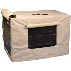 Medium,Tan, Water-Resistant Nylon, Side Mesh Windows Indoor/Outdoor Crate Cover for Size 3000 Crates
