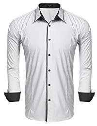 COOFANDY Mens Classic Slim Fit Contrast Inner Long Sleeve Dress Shirts