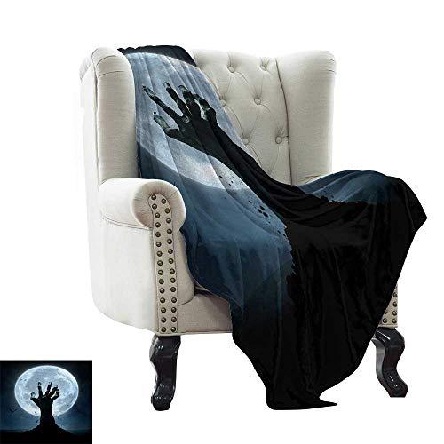 LsWOW Puppy Blanket Halloween,Realistic Zombie Earth Soil Full Moon Bat Horror Story October Twilight Themed,Blue Black Super Soft Faux Fur Plush Decorative Blanket 35