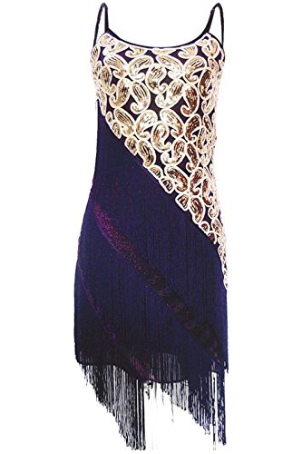 Viqiv Women's 1920S Paisley Art Deco Sequin Tassle Fringe Latin Dance Dress, 2/4, Purple (Latin Dancing Costume Patterns)