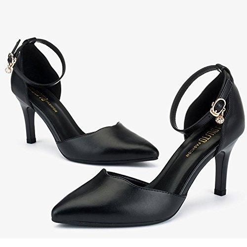 Black Noir Mode De EU De Mariage 8cm Chaussures Bouton Mot Hauts Cour Femme 3 Chaussures Sexy Travail 35 Talons UK R6ntqxwFdA