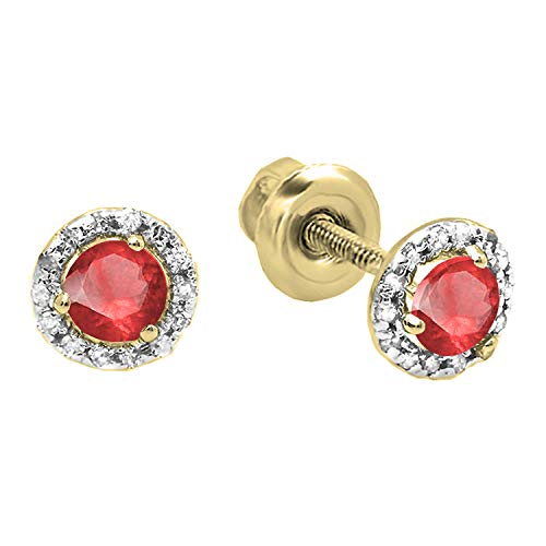 Dazzlingrock Collection 18K 4 MM Each Round Ruby & White Diamond Ladies Halo Style Stud Earrings, Yellow Gold (Ruby And Diamond Earrings 18k White Gold)