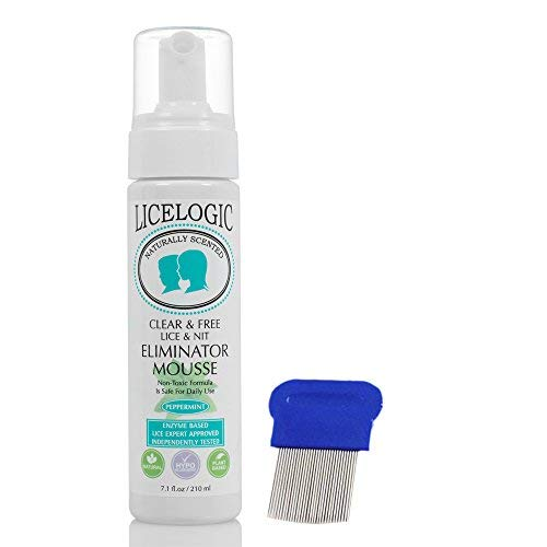 (LiceLogic Lice & Nit Eliminator Mousse Treatment Kit - No Pesticides - 2 Piece Kit for One Day Super Lice and Egg Treatment with Sturdy Stainless Steel Tooth Reusable Nit Comb)