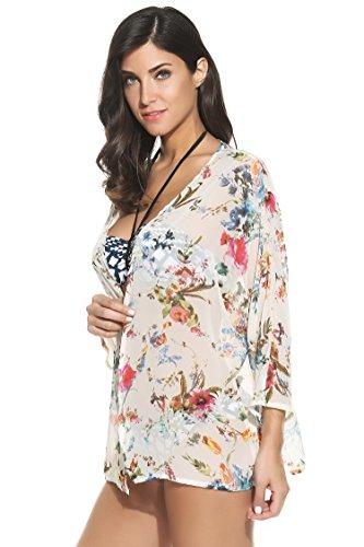 Meaneor Women's Cover Up Kimono Beach Swimwear Bikini Chiffon Boho Floral Cardigan White Medium
