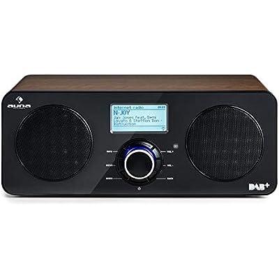 auna Worldwide Stereo Internet Radio Delux Edition Spotify Connect  DAB  DAB   RDS Tuner  Multiroom  Wireless Flexibility  Remote Control  LCD Display  Walnut