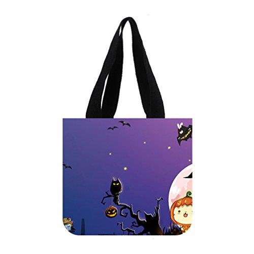 JIUDUIDODO Cotton Canvas Custom Cool Halloween Evil Jack with Bat Tote Bag Casual Bags Shopping Bags Shoulder Bags (2 (Pumpkin Patterns Printable)