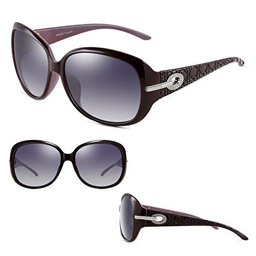 Grand Cadre Mode Élégant Essentiel Nouvelle de Volant Marée Lunettes 2DAWANG Soleil Femme Miroir Rétro Purple Strass xnT10p