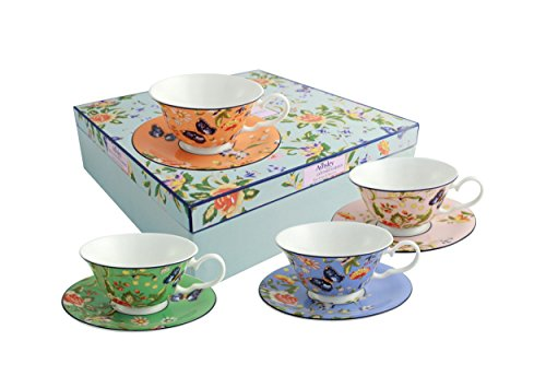 Belleek Cottage Garden Windsor Teacups and Saucer, Multicolor