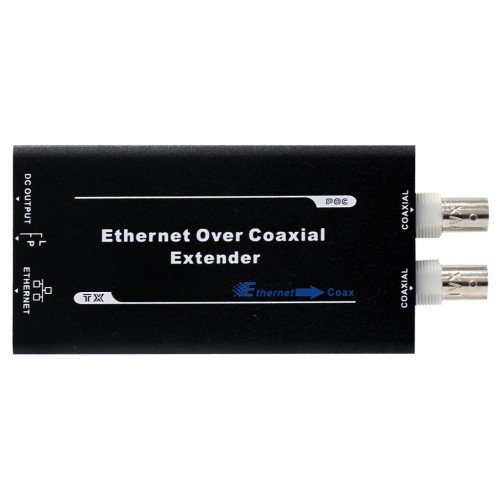 Transmitter Over Coax - HDView Ethernet & Power Over Coax Adapter Converter, EoC PoC, BNC & RJ45 Jacks, Send Ethernet and PoE Power Signal 3200ft Over Coaxial Cable, Convert IP Cameras to Analog Cameras (Transmitter)