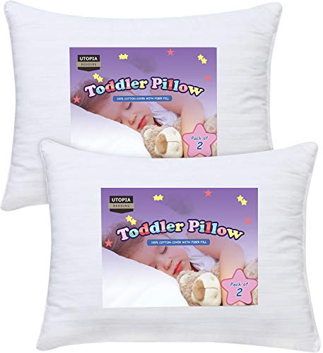 Utopia Bedding 2 Pack Toddler Pillow – Baby Pillows for Sleeping – Cotton Blend Cover – Pack of 2 Kids Pillows – White…