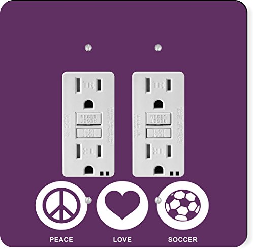 Rikki Knight 42768 Gfidouble Peace Love Soccer Purple Color Design Light Switch Plate by Rikki Knight
