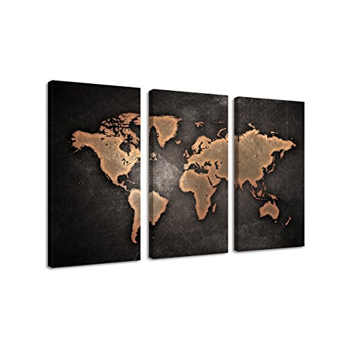- BIL-YOPIN Large Canvas Printing Wall Art 3 Panels World Map Picture Printed on Canvas Modern Artwork for Living Room ...