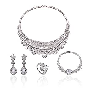 Women's Jewelry 18K White Gold Plated With Zirconia Rhinestone Necklace, Earrings, Bracelet and Ring Set 627A