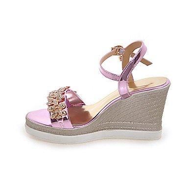 LvYuan Mujer Sandalias Zapatos formales Semicuero Primavera/Otoño Verano Casual Vestido Fiesta y Noche Zapatos formales Pedrería Tacón Cuña Silver