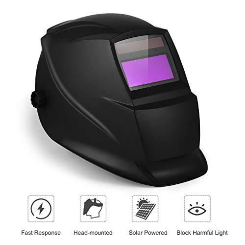Solar Power Auto Darkening Welding Helmet Professional Weld Helmet Mask with Larger Viewing Area, Wide Shade Range 4/5-9/9-13, Grinding Feature for TIG MIG MMA ()
