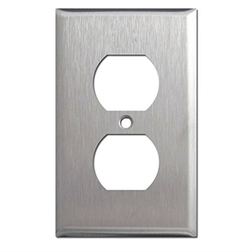 Brushed Satin Nickel Stainless Steel Wall Covers Switch Plates & Outlet Covers (single duplex) from Unknown