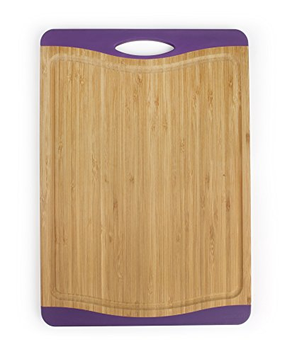 Neoflam Flutto 15″ Bamboo Cutting Board with Non-Slip Edges and Drip Groove, Purple