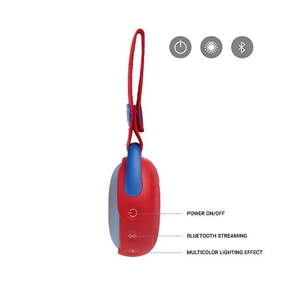 JR POP JBL - Enceinte portable pour enfants - Bluetooth & Waterproof - Avec modes lumineux multicolores & autocollants - Autonomie 5 hrs - Rouge 4