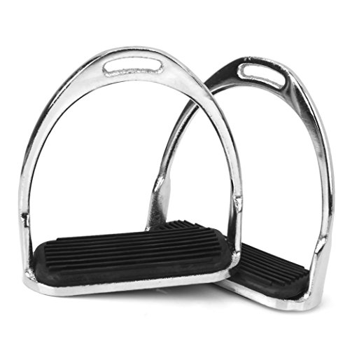 CUTICATE English Safety Stirrups Irons for Saddle, Horse Rding Double Jointed Stirrups and Anti Slip Rubber Pad ()