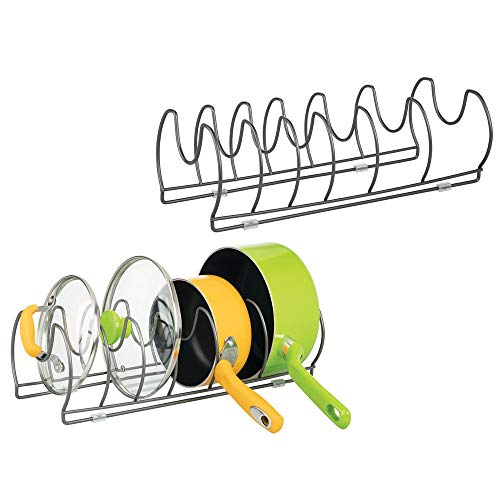 - mDesign Metal Wire Pot/Pan Organizer Rack for Kitchen Cabinet, Shelves, 6 Slots for Vertical or Horizontal Storage of Skillets, Frying or Sauce Pans, Lids, Baking Stones - 2 Pack - Graphite Gray