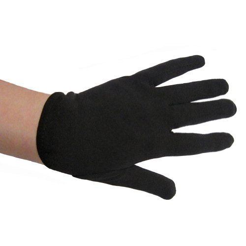[SeasonsTrading Child Black Costume Gloves ~ Halloween Costume Accessory (STC12099)] (Black Girls Gloves)
